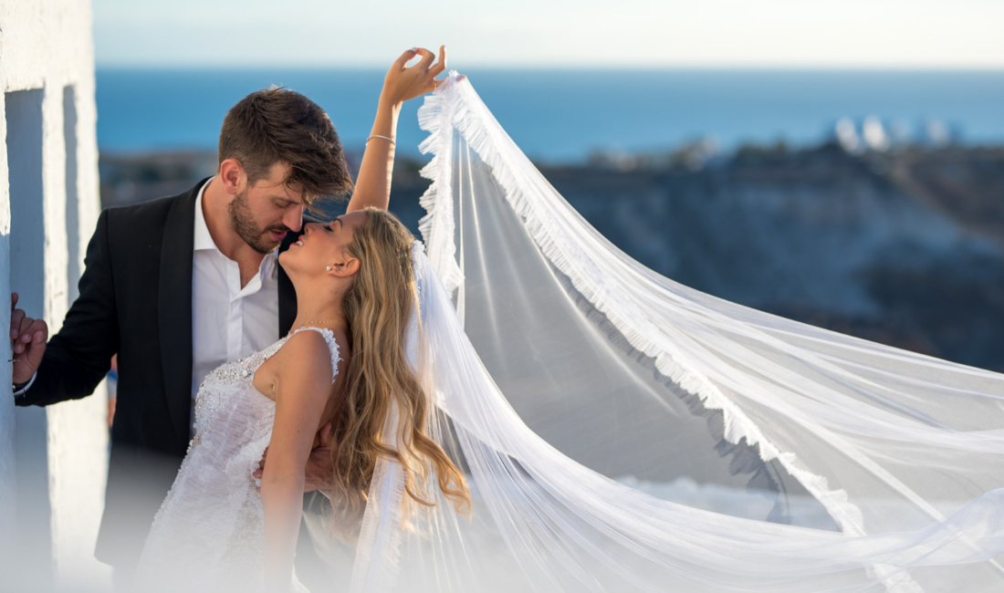 Wedding kiss in Santorini